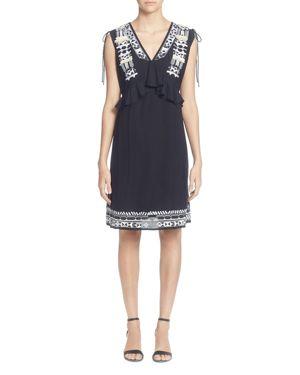 V-Neck Drawstring-Shoulders Sleeveless Embroidered Shift Cotton Dress, Black Beauty