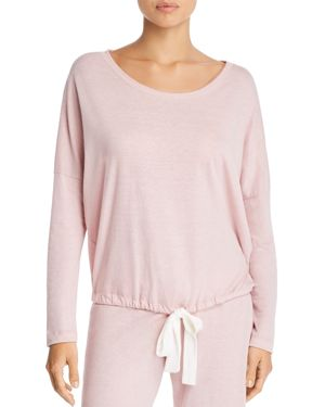 Heather Slouchy Drawstring Lounge Tee, Cashmere Rose
