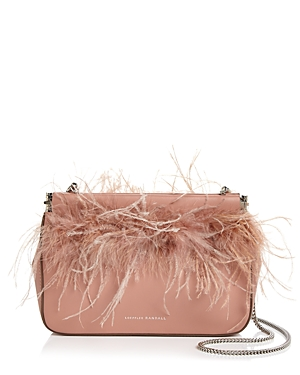 Loeffler Randall Maisie Feather-Trim Leather Pouch
