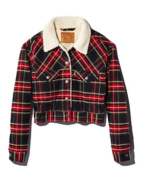Levi's - Plaid Corduroy Cropped Trucker Jacket - 100% Exclusive