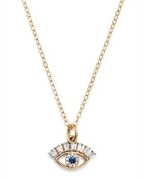 "Bloomingdale's - Diamond & Blue Sapphire Evil Eye Pendant Necklace in 14K Yellow Gold, 18"" - 100% Exclusive"