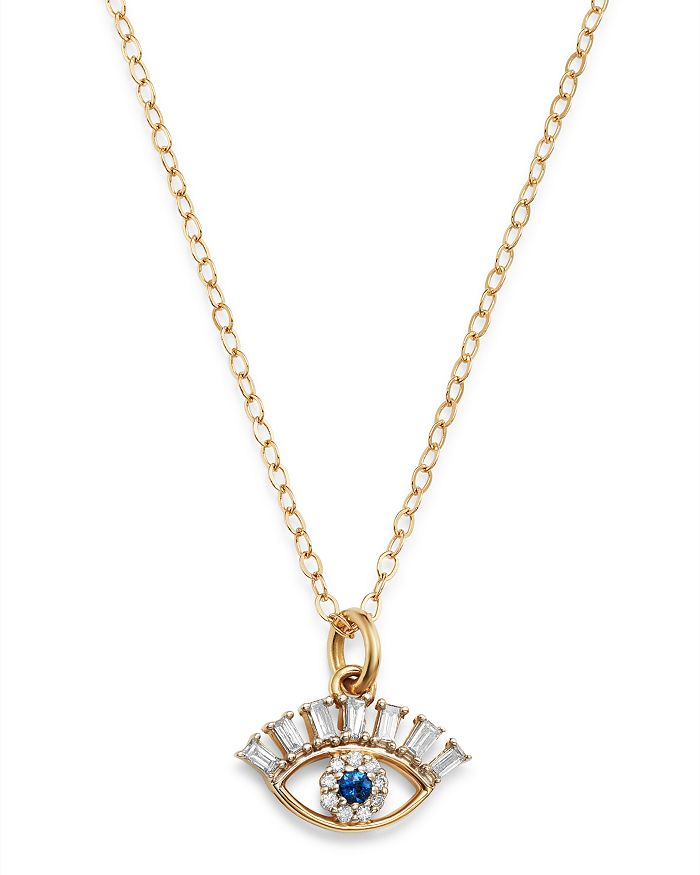 """Bloomingdale's - Diamond & Blue Sapphire Evil Eye Pendant Necklace in 14K Yellow Gold, 18"""" - 100% Exclusive"""