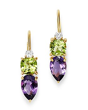 Bloomingdale's - Diamond, Amethyst & Peridot Drop Earrings in 14K Yellow Gold - 100% Exclusive