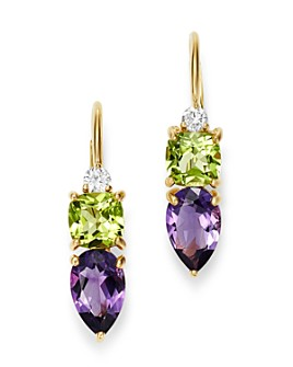 Bloomingdale's - Diamond, Amethyst & Peridot Drop Earrings in 14K Yellow Gold - 100% Exclusive