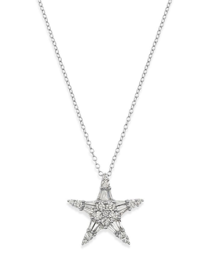 Bloomingdale's Diamond Baguette & Round Star Pendant Necklace in 14K White Gold, 1.0 ct. t.w. - 100% Exclusive  | Bloomingdale's