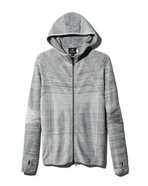 SNOW PEAK Melange Knit Hooded Jacket in Grey