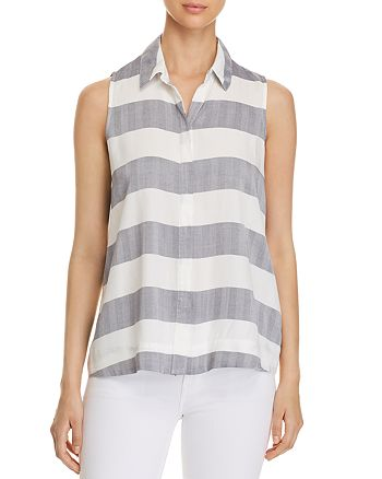 Cupio - Collared Striped Button-Down Top