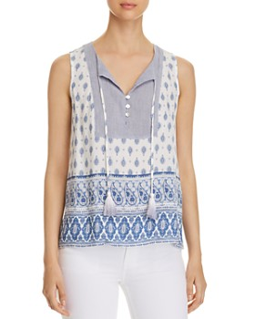 Cupio - Tasseled Printed Top