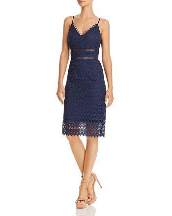 AQUA - Scalloped Lace Sheath Dress - 100% Exclusive