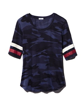 Splendid - Striped-Sleeve Camo Tee - 100% Exclusive
