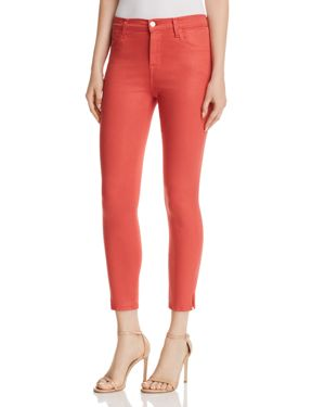 Alana High Rise Crop Skinny Jeans In Coated Rose Tea