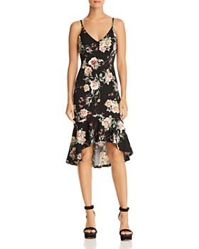 AQUA -  Floral Print Flounced-Hem Dress - 100% Exclusive