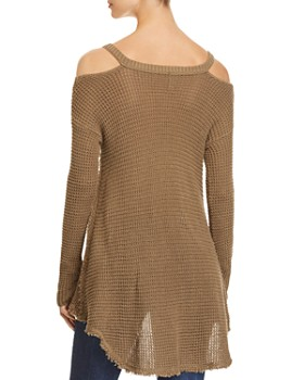 Elan - Cold Shoulder High Low Sweater