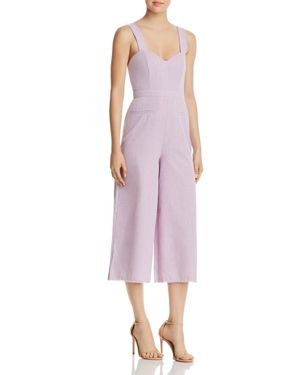 Portia Cropped Wide-Leg Jumpsuit, Lilac Tea Towel