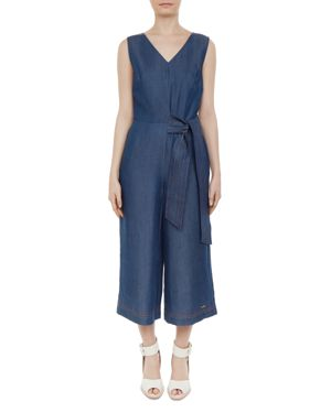 Colour By Numbers Pipere Chambray Jumpsuit, Mid-Wash
