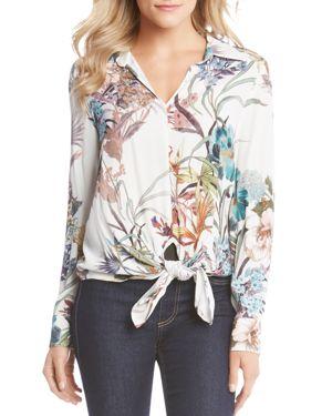 Karen Kane Tie-Front Floral Print Blouse