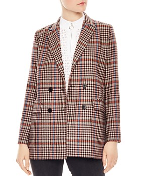 Sandro - Solution Checked Double-Breasted Blazer