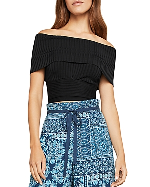 Bcbgmaxazria Off-The-Shoulder Rib-Knit Crop Top