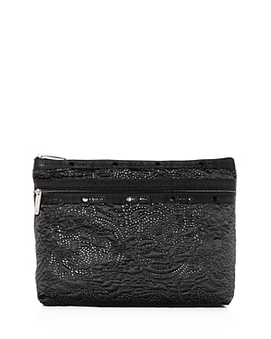 Lesportsac LESPORTSAC TAYLOR LARGE FLORAL-EMBOSSED COSMETICS CASE