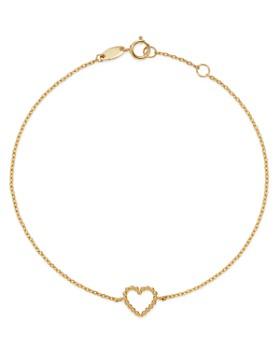 Moon & Meadow - 14K Yellow Gold Beaded Heart Bracelet
