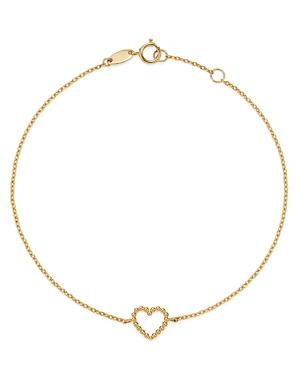 Moon & Meadow 14K Yellow Gold Beaded Heart Bracelet-Jewelry & Accessories