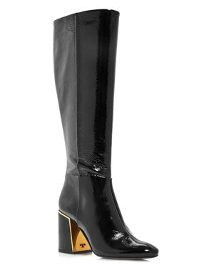 Women'S Juliana Round Toe Textured Patent Leather Boots, Perfect Black