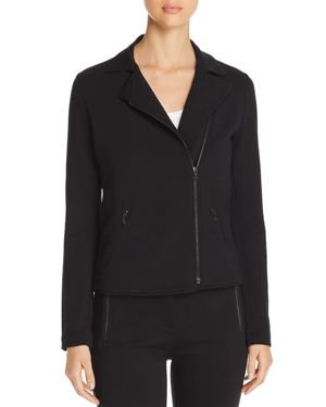 MAJESTIC French Terry Zip-Front Moto Jacket in Noir
