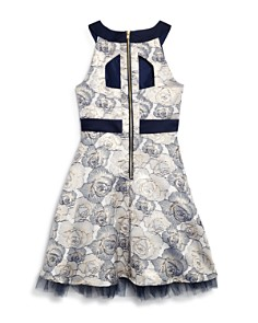 US Angels - Girls' Floral Brocade Dress - Big Kid