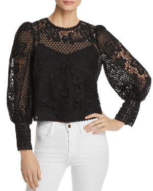Rodia Cropped Floral Lace Long-Sleeve Top, Caviar