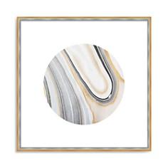 "Art Addiction Inc. - Beige/White Rock Swirl Circle #4 Wall Art, 24"" x 24"""