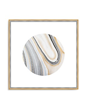 "Art Addiction Inc. - Beige/White Rock Swirl Circle #4 Wall Art, 24"" x 24"""