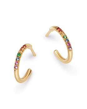Zoë Chicco - 14K Yellow Gold Rainbow Sapphire Huggie Hoop Earrings