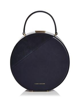Tammy & Benjamin - Medium Leather & Suede Hat Box Bag