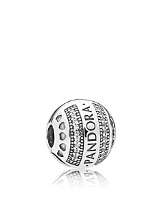 PANDORA Sterling Silver & Cubic Zirconia Logo Hearts Clip - Bloomingdale's_0