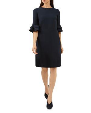 HOBBS LONDON FRANCES RUFFLE-SLEEVE SHIFT DRESS