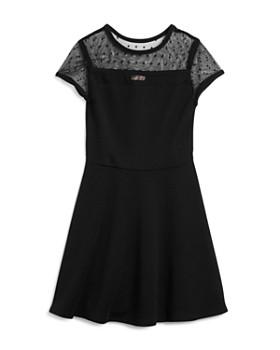 Sally Miller - Girls' Contrast Swiss Dot Textured Dress, Big Kid - 100% Exclusive