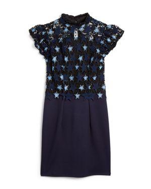 Miss Behave Girls' Janine Contrast Crochet-Star Sheath Dress - Big Kid