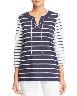 TOMMY BAHAMA FLORICITA STRIPED LACE-UP TOP