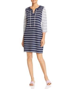 TOMMY BAHAMA Floricita Striped Lace-Up Shift Dress in Ocean Deep