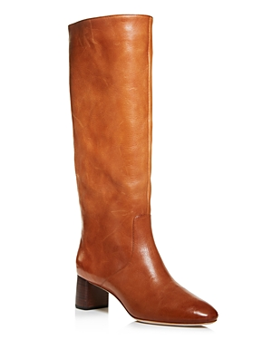 Women's Gia Pointed Toe Knee-High Leather Mid-Heel Boots