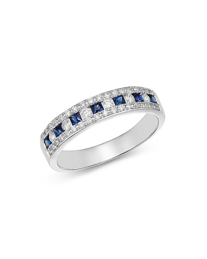 Bloomingdale's - Diamond & Blue Sapphire Three Row Band Ring in 14K White Gold - 100% Exclusive