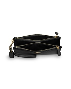 COACH - Double Zip Leather Wristlet Wallet