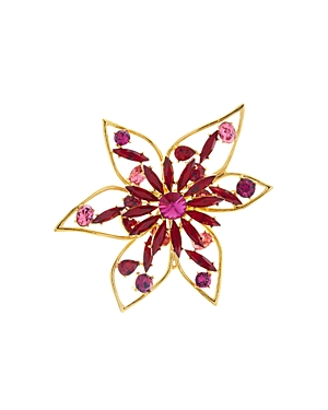 Oscar de la Renta Crystal Abstract Flower Brooch