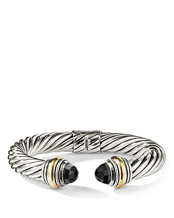 David Yurman - Cable Classics Bracelet with Black Onyx and 14K Gold, 10mm