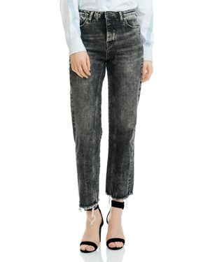 Paola Acid Washed Cropped Frayed Jeans, Gray
