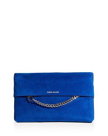 KAREN MILLEN - Medium Chain Detail Leather Clutch Bag