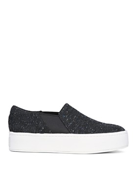 Vince - Women's Warren Round Toe Slip-On Tweed Platform Sneakers