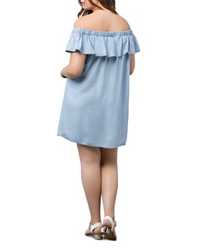 B Collection by Bobeau Curvy - Rosie Chambray Off-the-Shoulder Dress