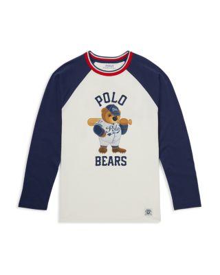 POLO RALPH LAUREN Kids Long Sleeve Raincoat Bear Jersey Hoodie T-Shirt Tee BLUE