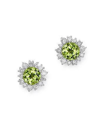 Bloomingdale's - Peridot & Diamond Halo Stud Earrings in 14K White Gold - 100% Exclusive